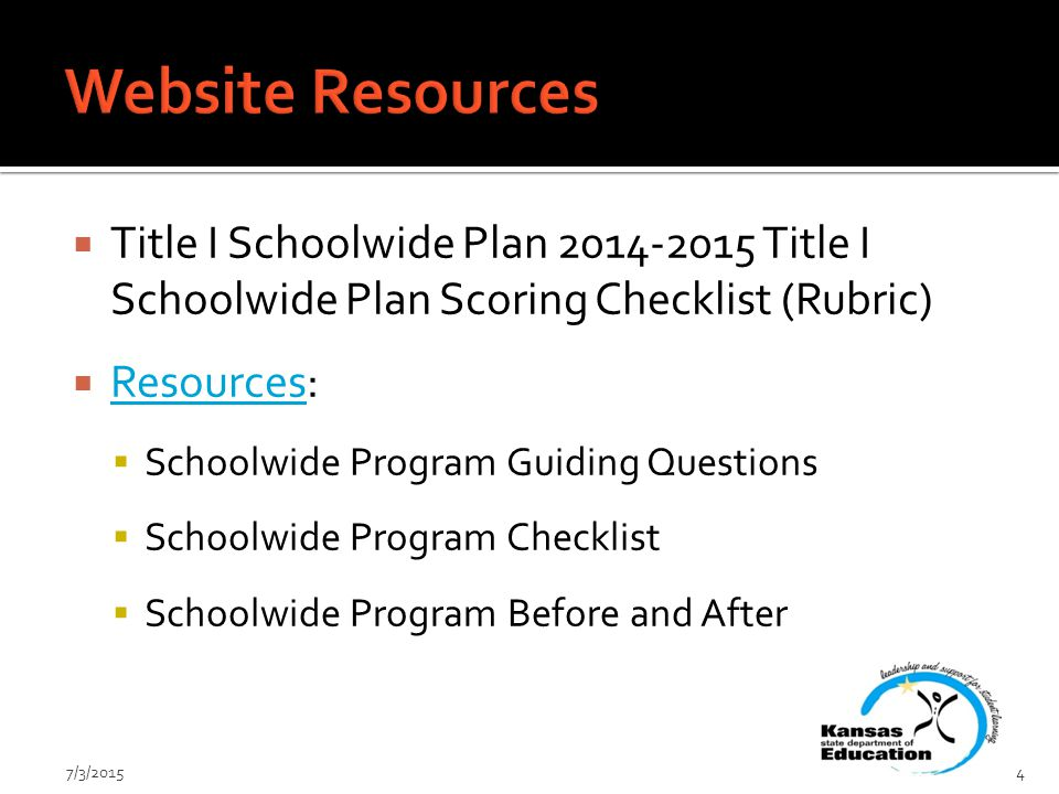  Title I Schoolwide Plan Title I Schoolwide Plan Scoring Checklist (Rubric)  Resources: Resources  Schoolwide Program Guiding Questions  Schoolwide Program Checklist  Schoolwide Program Before and After 7/3/20154