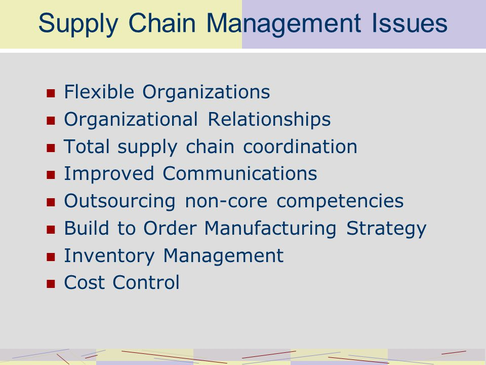 Supply Chain Management Issues Flexible Organizations Organizational Relationships Total supply chain coordination Improved Communications Outsourcing non-core competencies Build to Order Manufacturing Strategy Inventory Management Cost Control