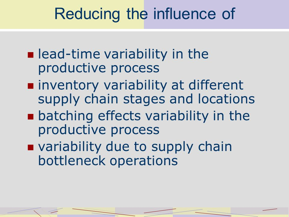 Reducing the influence of lead-time variability in the productive process inventory variability at different supply chain stages and locations batching effects variability in the productive process variability due to supply chain bottleneck operations