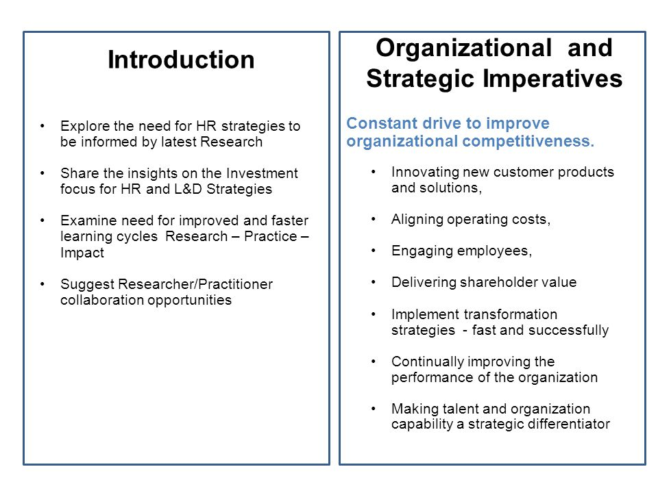 Introduction Explore the need for HR strategies to be informed by latest Research Share the insights on the Investment focus for HR and L&D Strategies Examine need for improved and faster learning cycles Research – Practice – Impact Suggest Researcher/Practitioner collaboration opportunities Constant drive to improve organizational competitiveness.