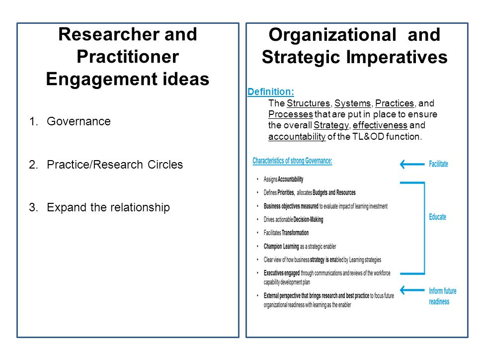 Researcher and Practitioner Engagement ideas 1. Governance 2.