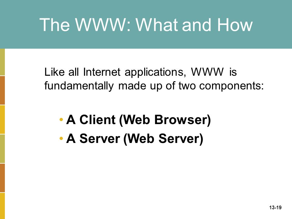 13-19 The WWW: What and How Like all Internet applications, WWW is fundamentally made up of two components: A Client (Web Browser) A Server (Web Serve
