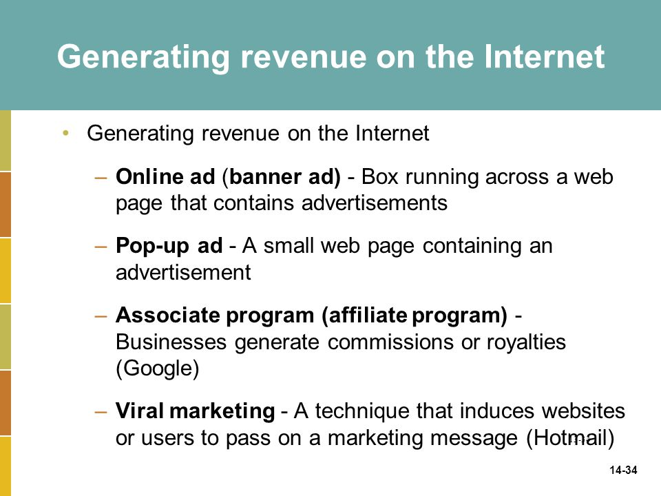 14-34 Generating revenue on the Internet –Online ad (banner ad) - Box running across a web page that contains advertisements –Pop-up ad - A small web