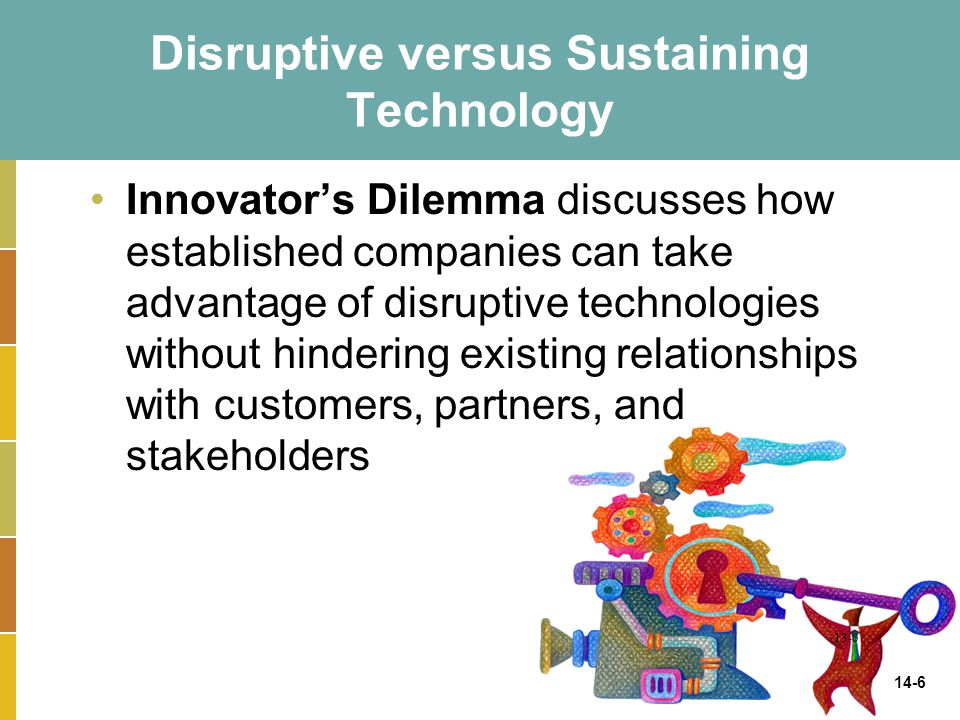 14-6 Disruptive versus Sustaining Technology Innovator's Dilemma discusses how established companies can take advantage of disruptive technologies wit