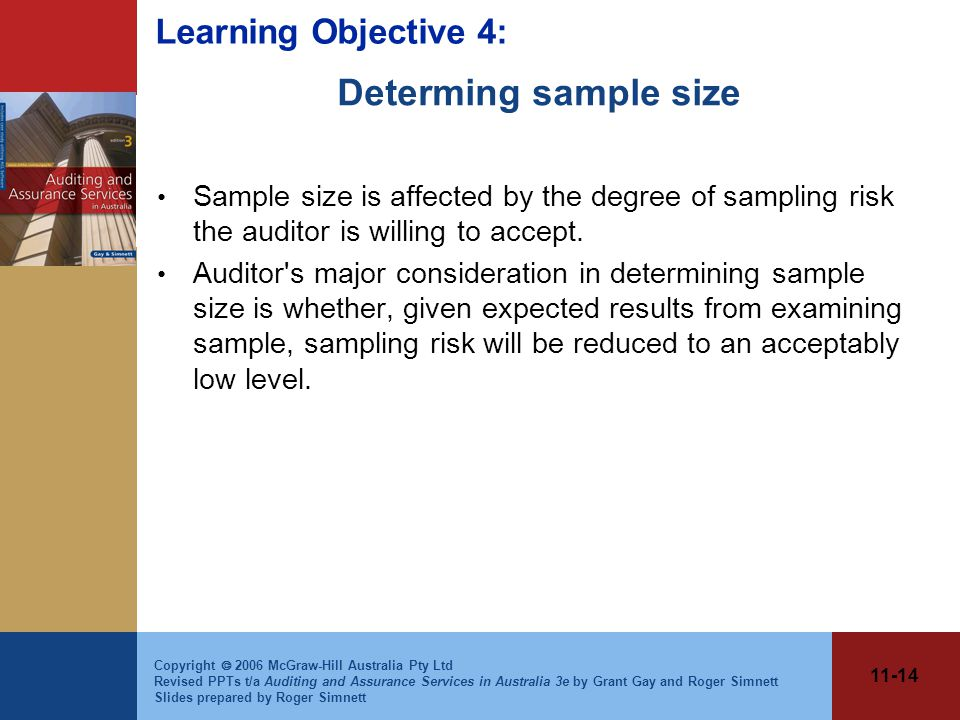 11-14 Copyright  2006 McGraw-Hill Australia Pty Ltd Revised PPTs t/a Auditing and Assurance Services in Australia 3e by Grant Gay and Roger Simnett Slides prepared by Roger Simnett Determing sample size Sample size is affected by the degree of sampling risk the auditor is willing to accept.