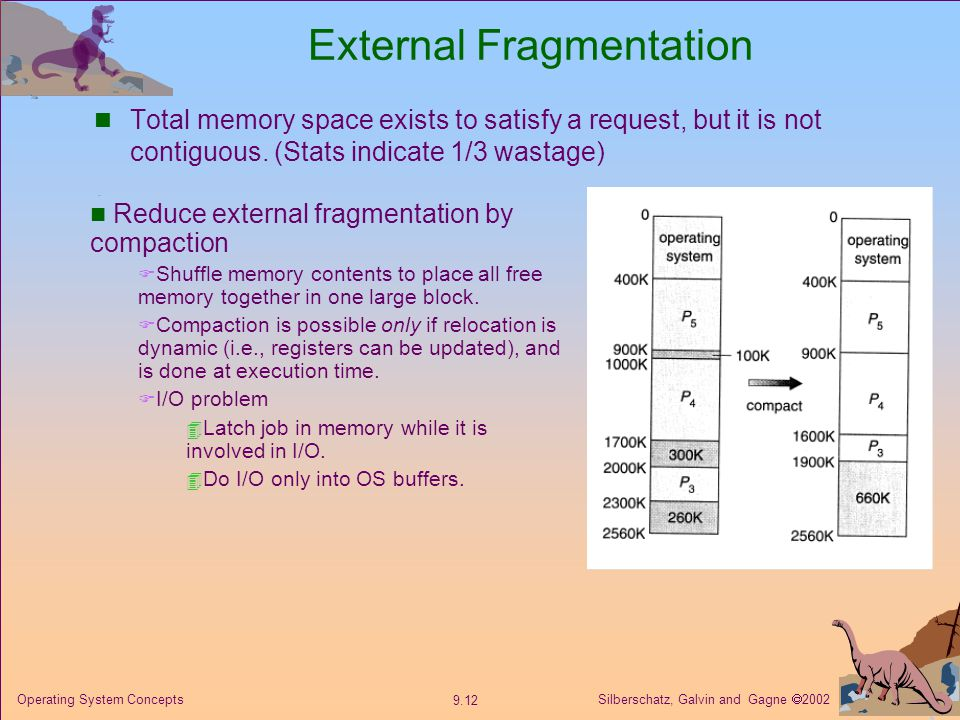 Silberschatz, Galvin and Gagne  Operating System Concepts External Fragmentation Total memory space exists to satisfy a request, but it is not contiguous.