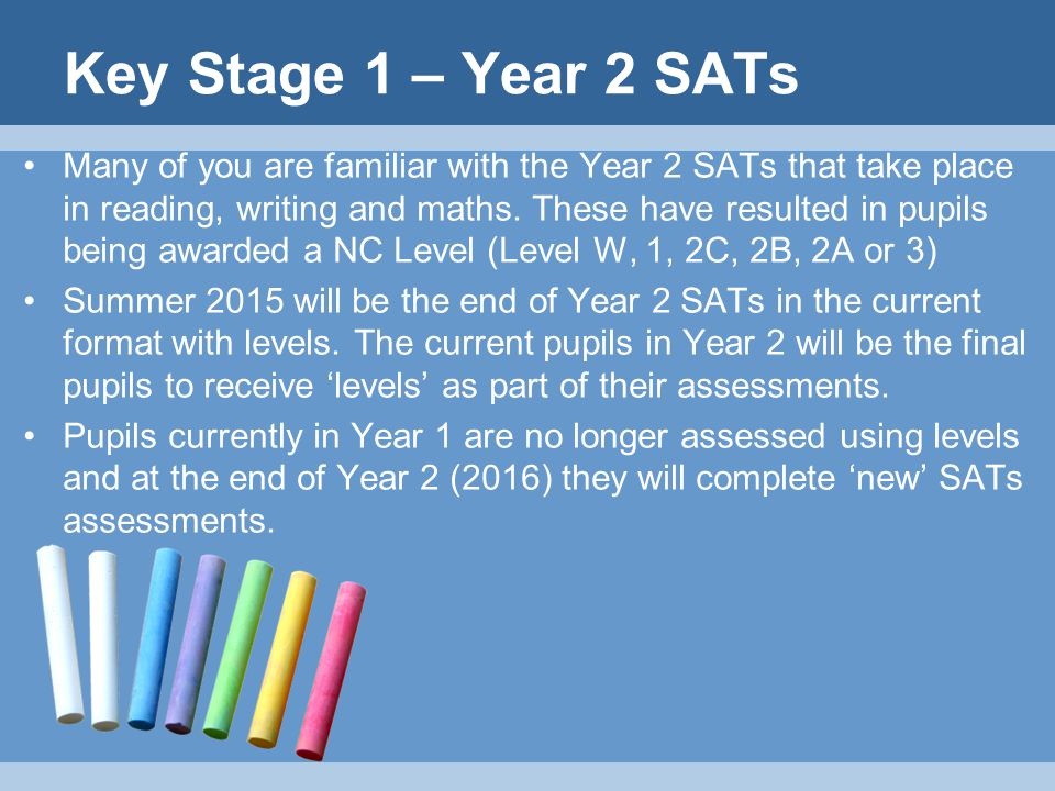 Key Stage 1 – Year 2 SATs Many of you are familiar with the Year 2 SATs that take place in reading, writing and maths.