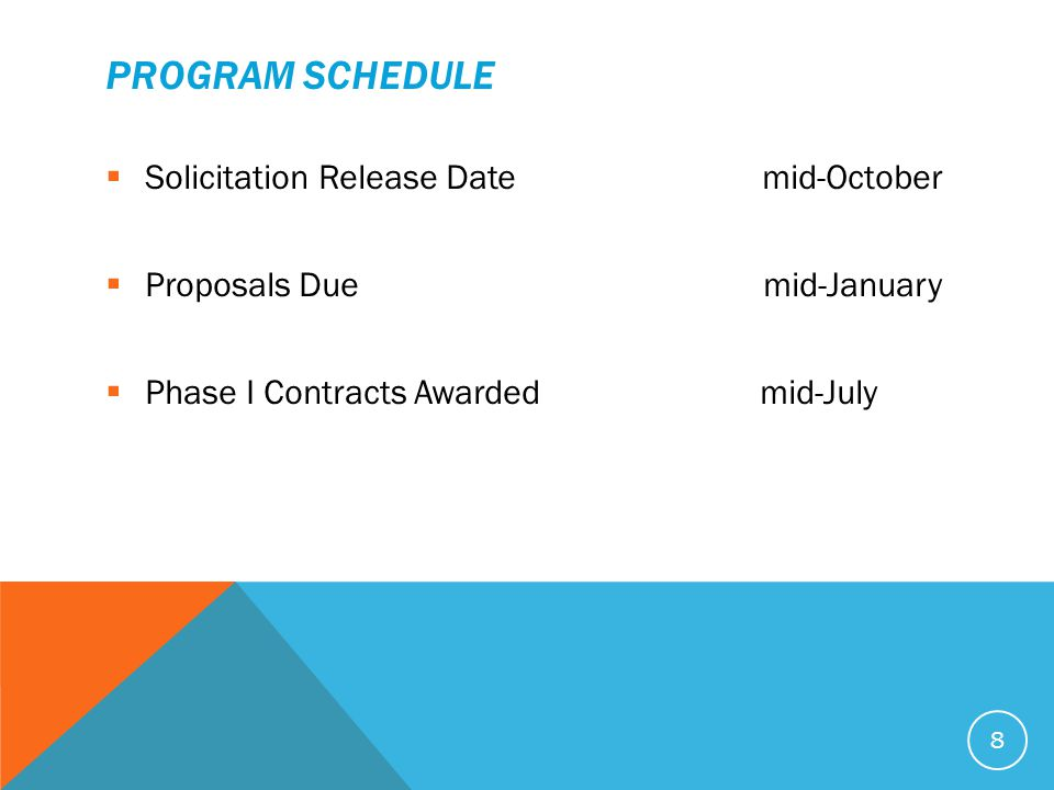 PROGRAM SCHEDULE  Solicitation Release Date mid-October  Proposals Due mid-January  Phase I Contracts Awarded mid-July 8