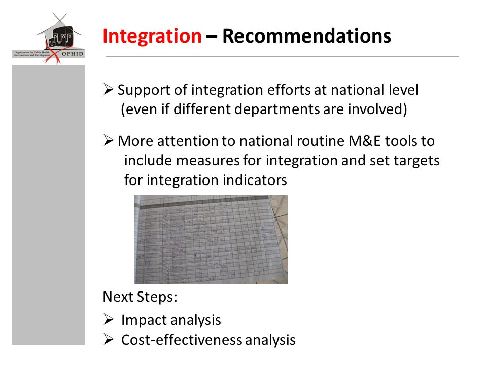 Integration – Recommendations  Support of integration efforts at national level (even if different departments are involved)  More attention to national routine M&E tools to include measures for integration and set targets for integration indicators Next Steps:  Impact analysis  Cost-effectiveness analysis