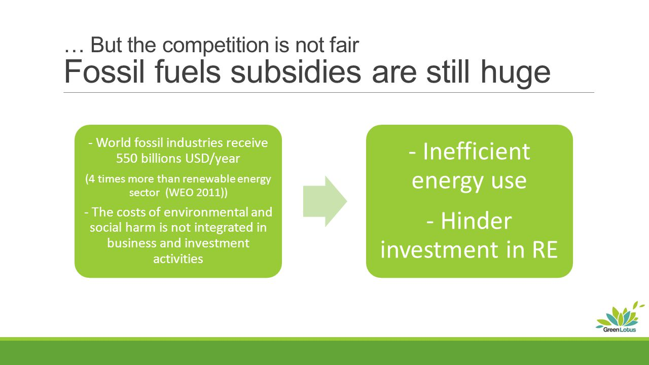 … But the competition is not fair Fossil fuels subsidies are still huge - World fossil industries receive 550 billions USD/year (4 times more than renewable energy sector (WEO 2011)) - The costs of environmental and social harm is not integrated in business and investment activities - Inefficient energy use - Hinder investment in RE