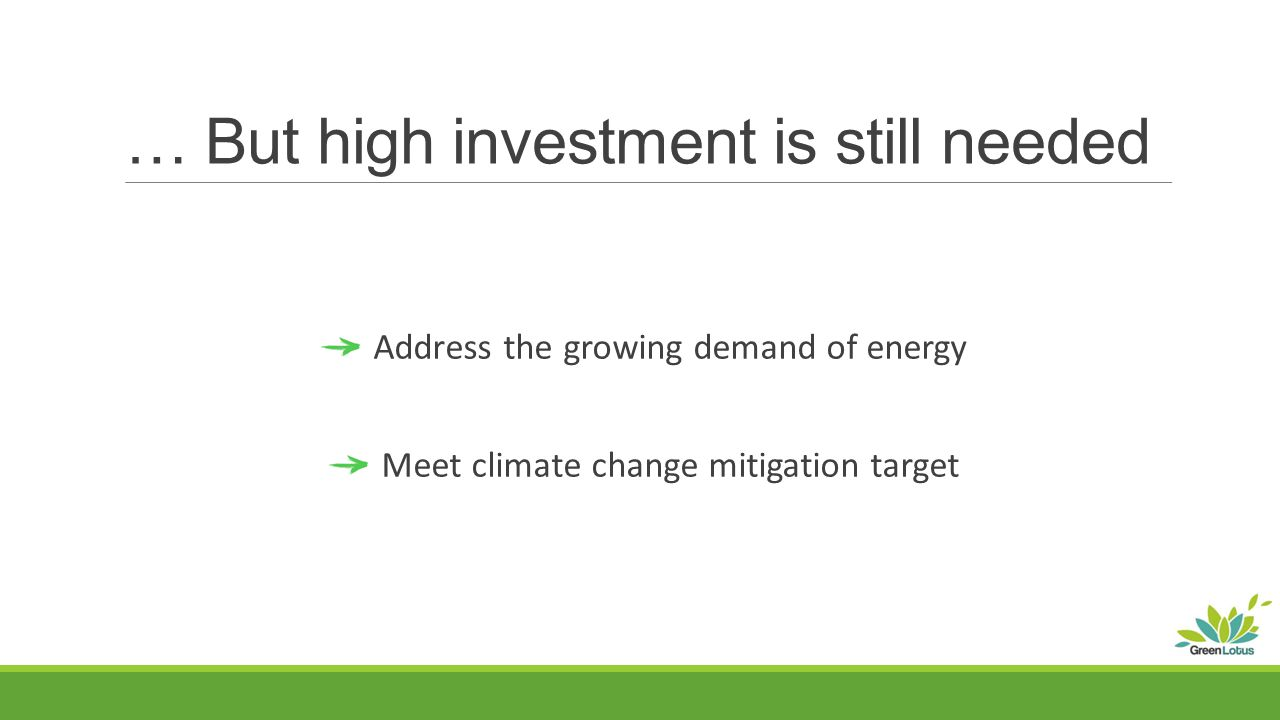 … But high investment is still needed Address the growing demand of energy Meet climate change mitigation target