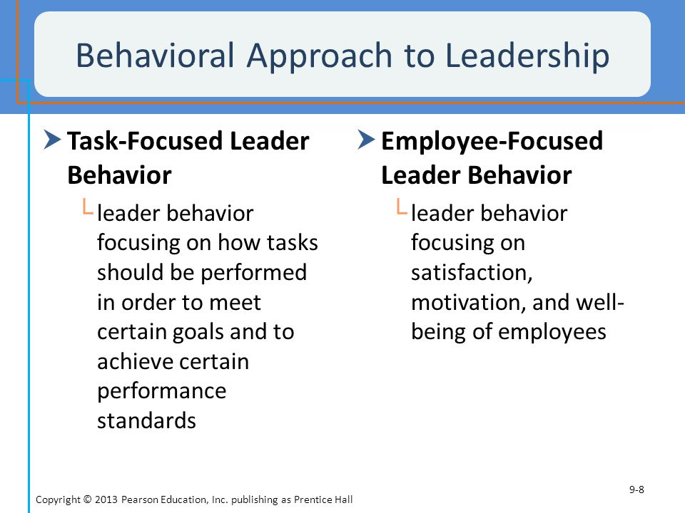 The Situational Approach to Leadership  Situational Approach to Leadership └ assumes that appropriate leader behavior varies from one situation to another  Situational characteristics that affect decision making include the type of organization, group effectiveness, the problem itself, and time pressures Copyright © 2013 Pearson Education, Inc.