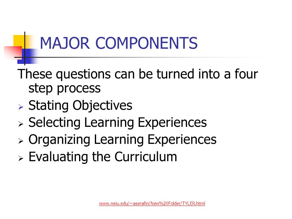 Tyler's Four Principles of Teaching Principle 1: Defining Appropriate Learning Objectives