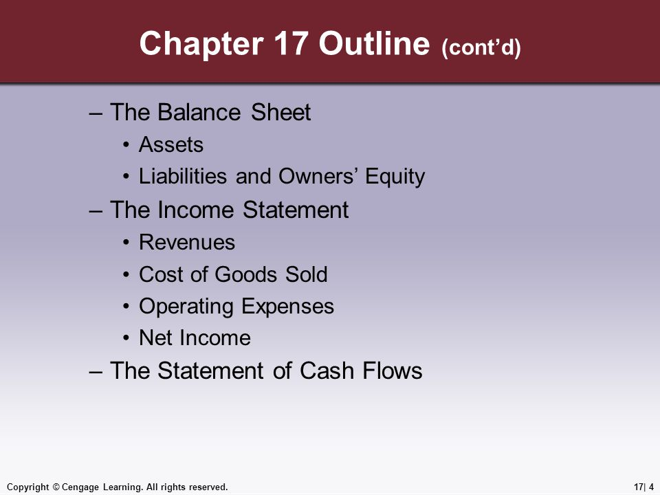 Chapter 17 Outline (cont'd) –The Balance Sheet Assets Liabilities and Owners' Equity –The Income Statement Revenues Cost of Goods Sold Operating Expenses Net Income –The Statement of Cash Flows Copyright © Cengage Learning.