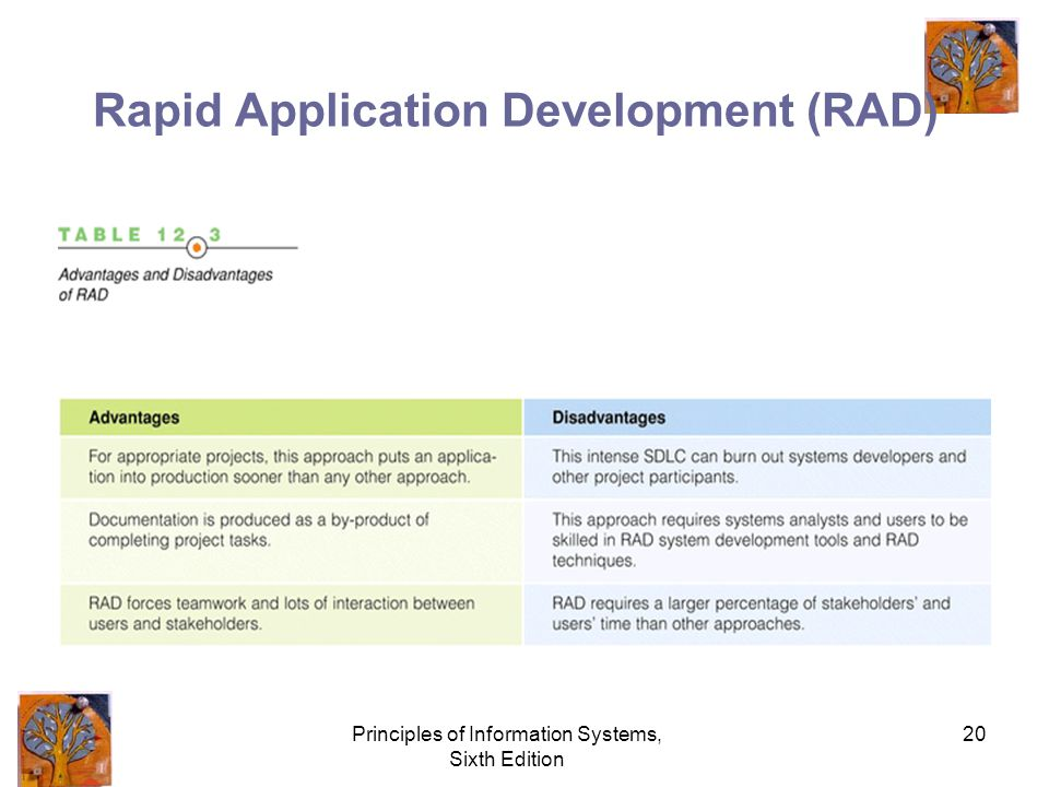 Principles of Information Systems, Sixth Edition 20 Rapid Application Development (RAD)