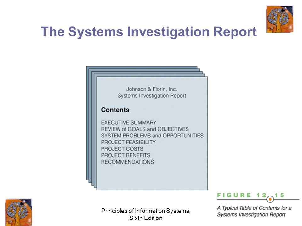 Principles of Information Systems, Sixth Edition 38 The Systems Investigation Report