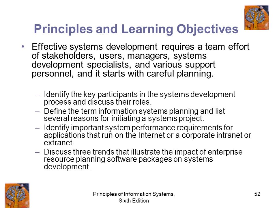 Principles of Information Systems, Sixth Edition 52 Principles and Learning Objectives Effective systems development requires a team effort of stakeholders, users, managers, systems development specialists, and various support personnel, and it starts with careful planning.