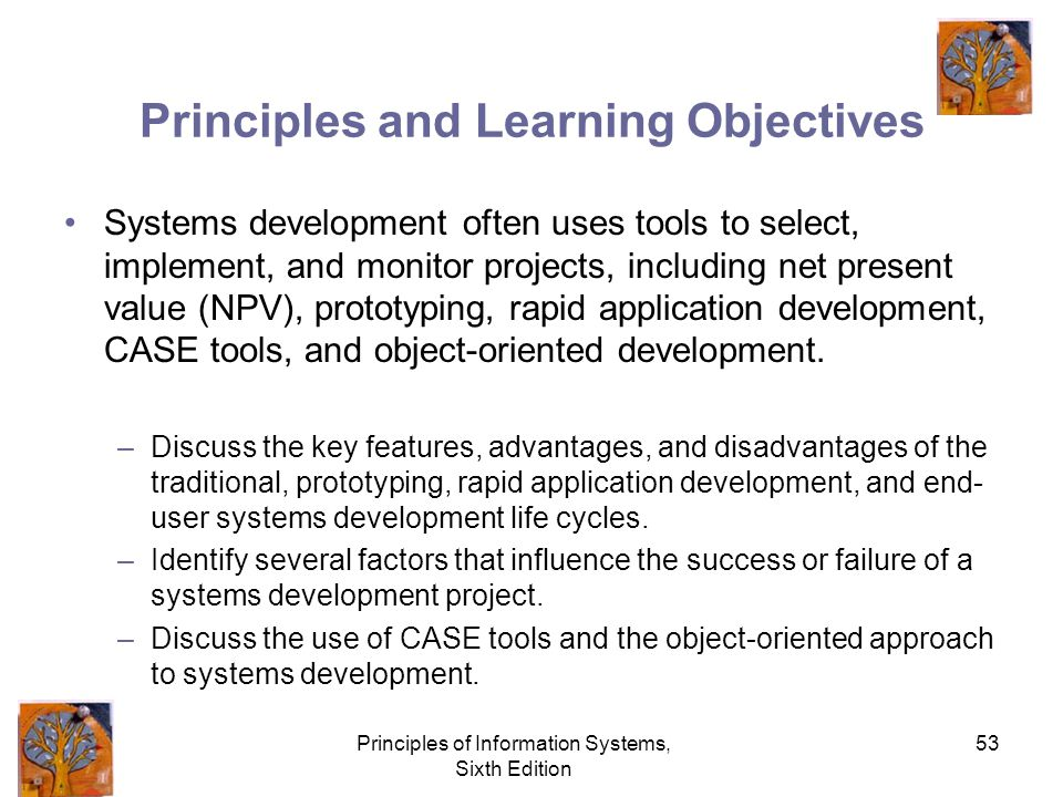 Principles of Information Systems, Sixth Edition 53 Principles and Learning Objectives Systems development often uses tools to select, implement, and monitor projects, including net present value (NPV), prototyping, rapid application development, CASE tools, and object-oriented development.