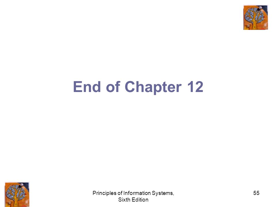 Principles of Information Systems, Sixth Edition 55 End of Chapter 12