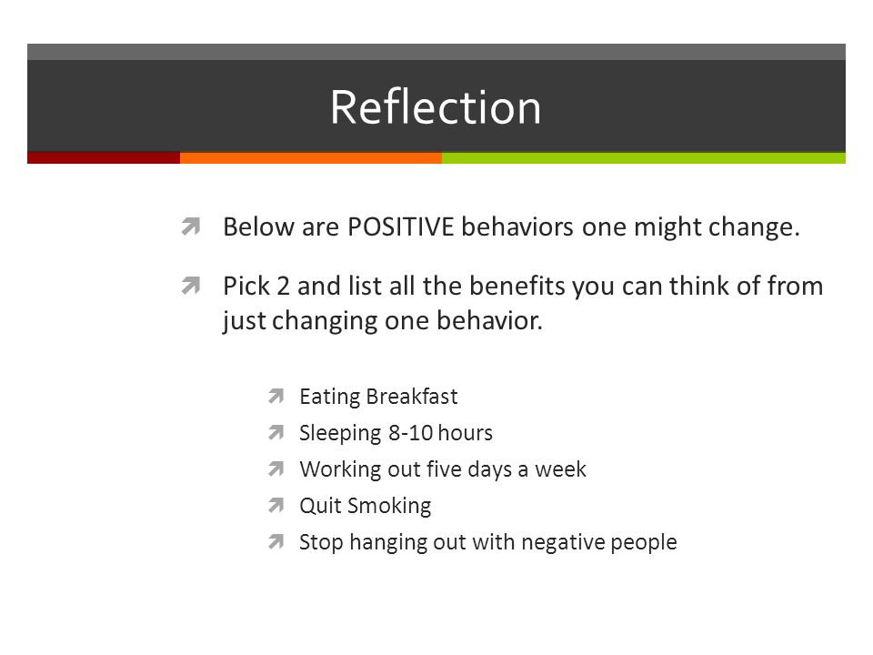 Reflection  Below are POSITIVE behaviors one might change.