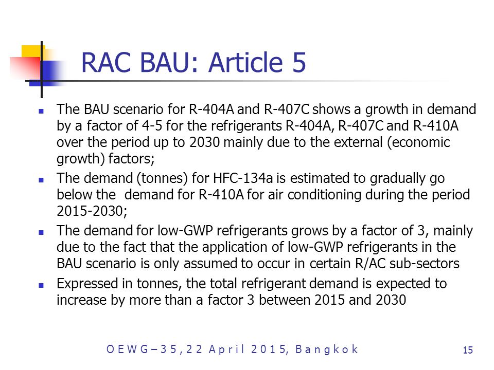 RAC BAU: Article 5 The BAU scenario for R-404A and R-407C shows a growth in demand by a factor of 4-5 for the refrigerants R-404A, R-407C and R-410A over the period up to 2030 mainly due to the external (economic growth) factors; The demand (tonnes) for HFC-134a is estimated to gradually go below the demand for R-410A for air conditioning during the period ; The demand for low-GWP refrigerants grows by a factor of 3, mainly due to the fact that the application of low-GWP refrigerants in the BAU scenario is only assumed to occur in certain R/AC sub-sectors Expressed in tonnes, the total refrigerant demand is expected to increase by more than a factor 3 between 2015 and 2030 O E W G – 3 5, 2 2 A p r i l , B a n g k o k 15