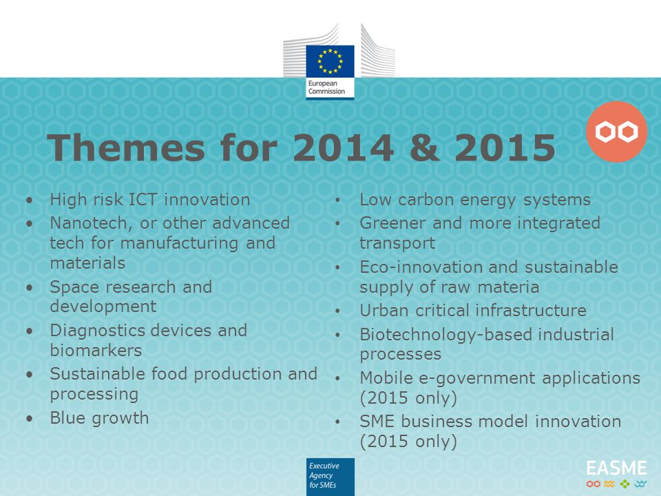 Themes for 2014 & 2015 High risk ICT innovation Nanotech, or other advanced tech for manufacturing and materials Space research and development Diagnostics devices and biomarkers Sustainable food production and processing Blue growth Low carbon energy systems Greener and more integrated transport Eco-innovation and sustainable supply of raw materia Urban critical infrastructure Biotechnology-based industrial processes Mobile e-government applications (2015 only) SME business model innovation (2015 only)