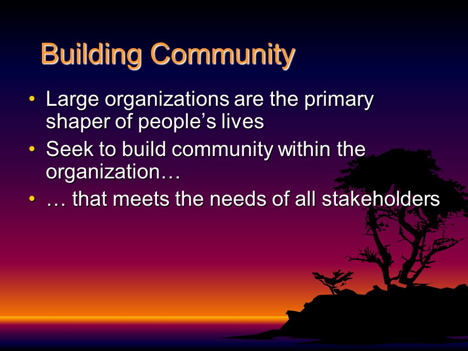 Building Community Large organizations are the primary shaper of people's livesLarge organizations are the primary shaper of people's lives Seek to build community within the organization…Seek to build community within the organization… … that meets the needs of all stakeholders… that meets the needs of all stakeholders