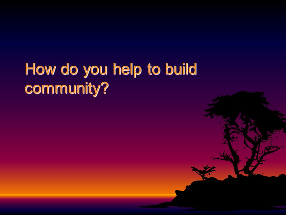How do you help to build community