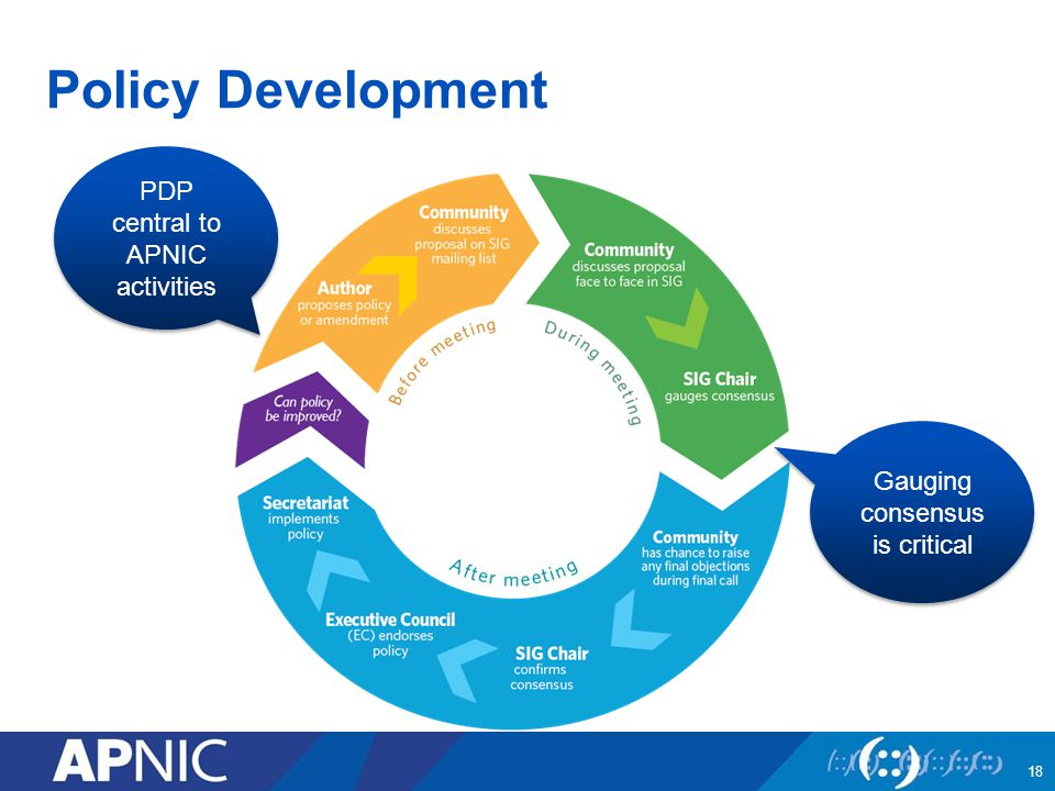 Policy Development PDP central to APNIC activities Gauging consensus is critical 18