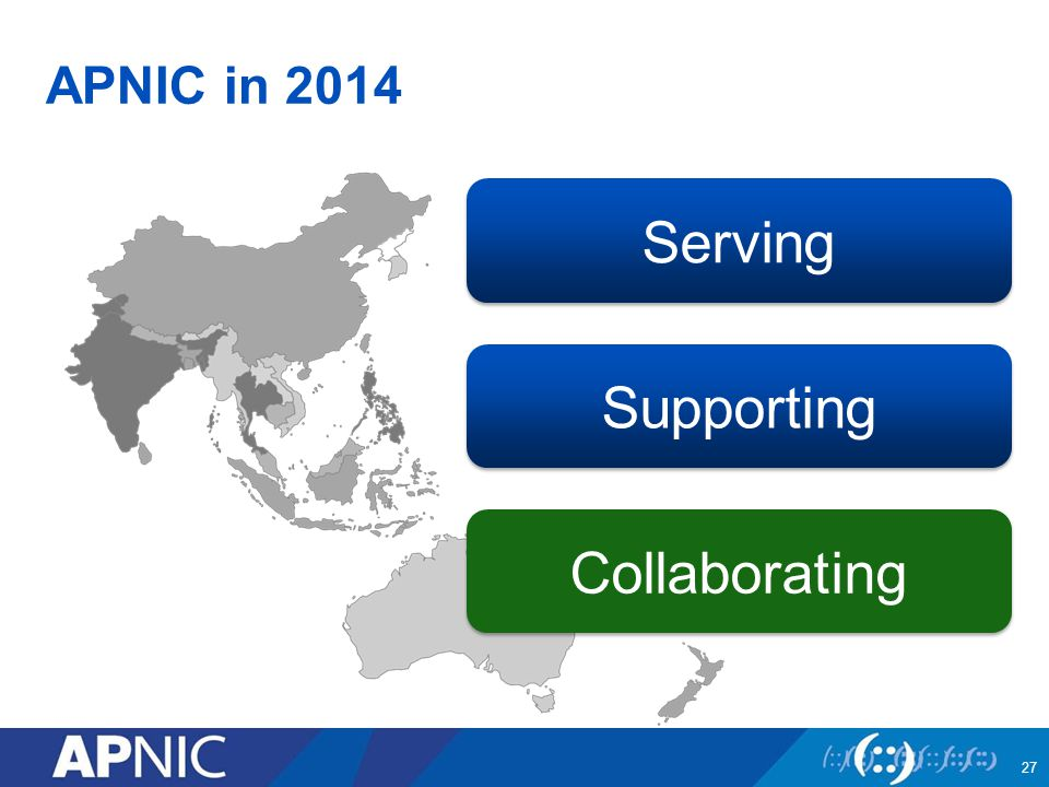 APNIC in 2014 Serving Collaborating Supporting 27