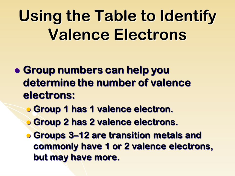 Using the Table to Identify Valence Electrons Group numbers can help you determine the number of valence electrons: Group numbers can help you determine the number of valence electrons: Group 1 has 1 valence electron.
