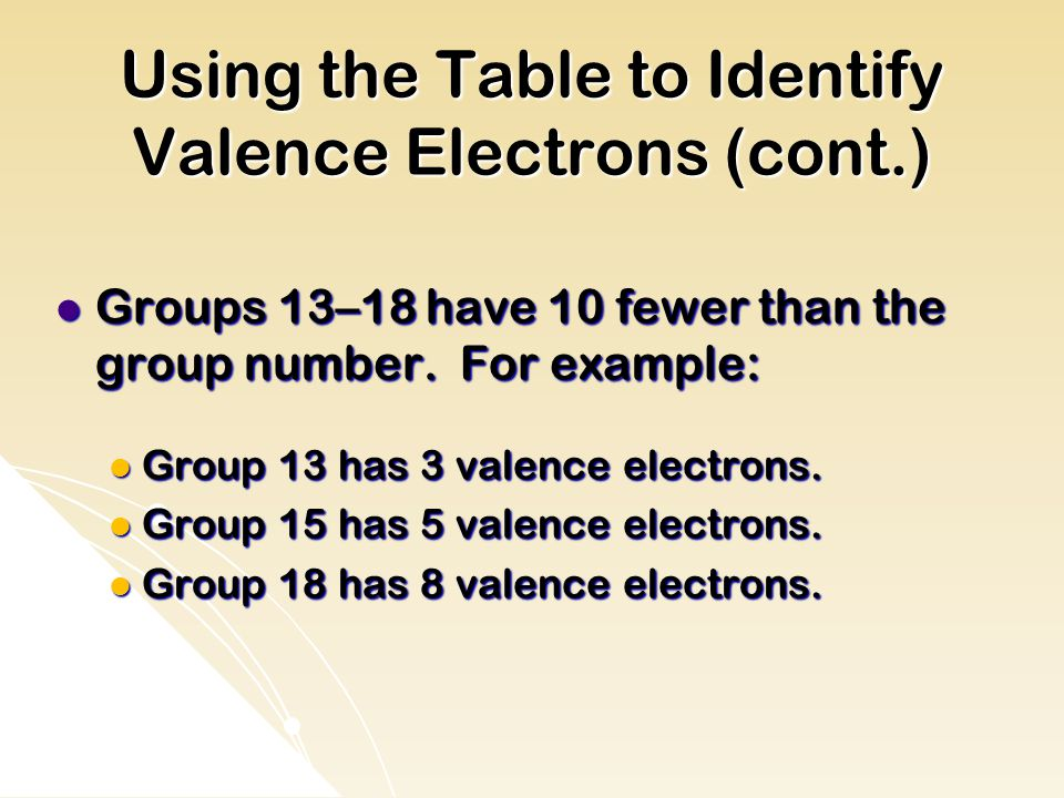 Using the Table to Identify Valence Electrons (cont.) Groups 13–18 have 10 fewer than the group number.