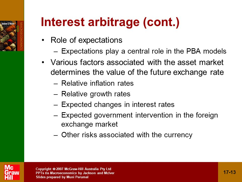 Copyright  2007 McGraw-Hill Australia Pty Ltd PPTs t/a Macroeconomics by Jackson and McIver Slides prepared by Muni Perumal Interest arbitrage (cont.) Role of expectations –Expectations play a central role in the PBA models Various factors associated with the asset market determines the value of the future exchange rate –Relative inflation rates –Relative growth rates –Expected changes in interest rates –Expected government intervention in the foreign exchange market –Other risks associated with the currency