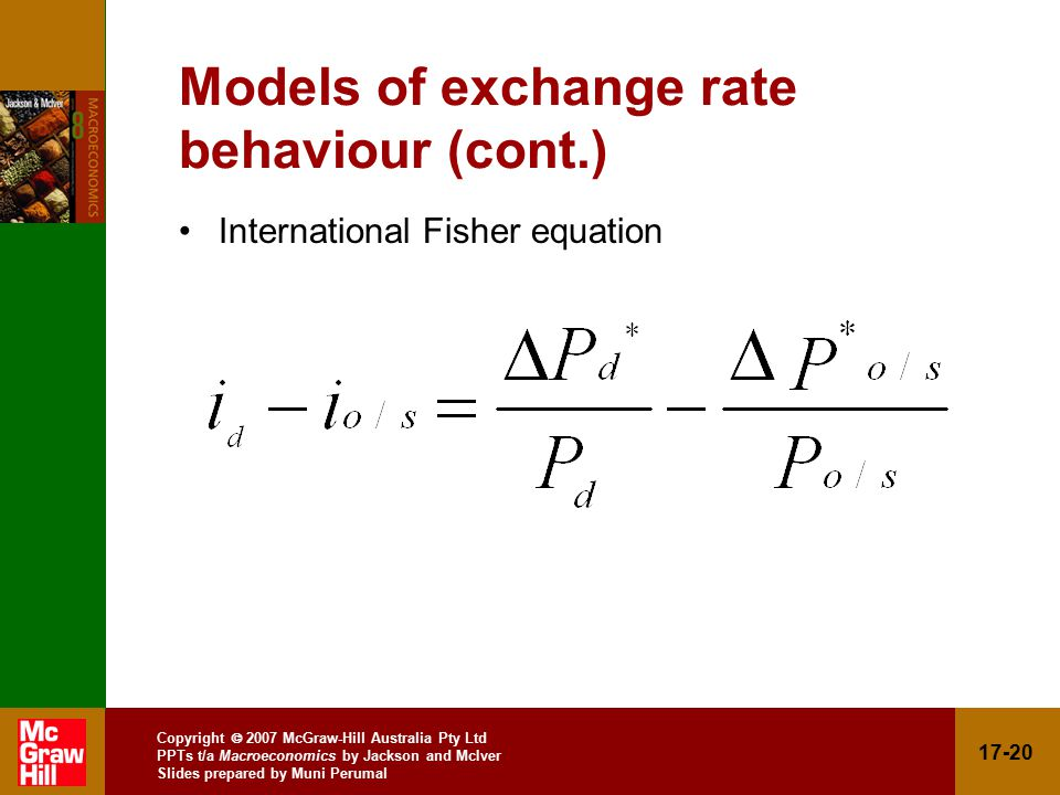 Copyright  2007 McGraw-Hill Australia Pty Ltd PPTs t/a Macroeconomics by Jackson and McIver Slides prepared by Muni Perumal Models of exchange rate behaviour (cont.) International Fisher equation