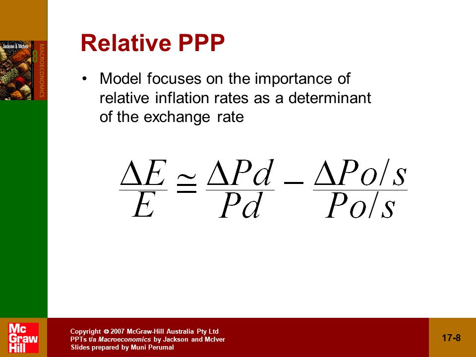 Copyright  2007 McGraw-Hill Australia Pty Ltd PPTs t/a Macroeconomics by Jackson and McIver Slides prepared by Muni Perumal 17-8 Relative PPP Model focuses on the importance of relative inflation rates as a determinant of the exchange rate