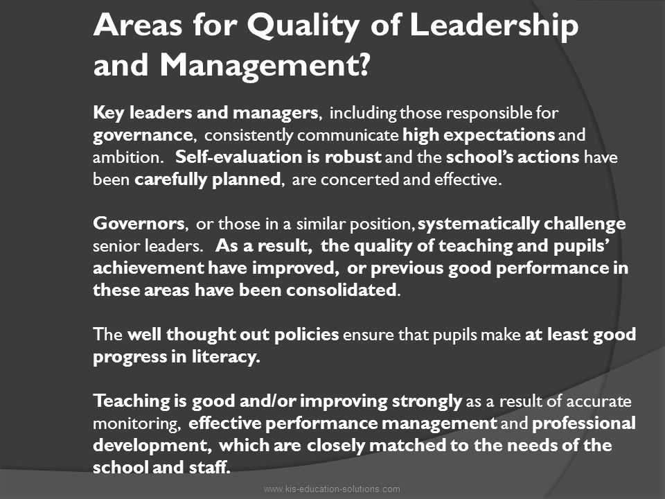 Areas for Quality of Leadership and Management.