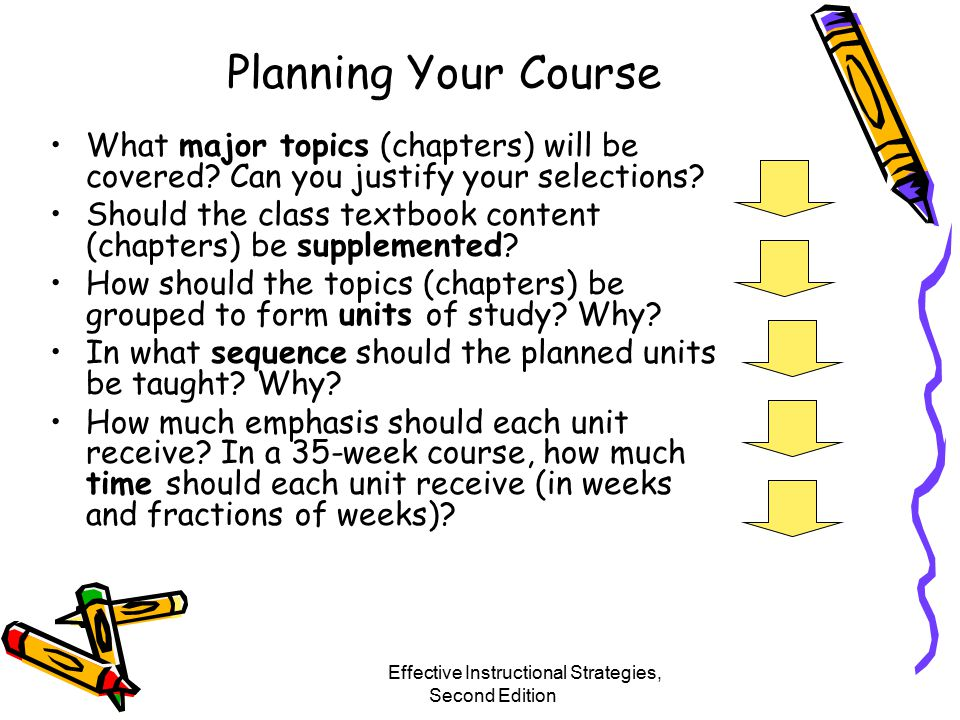 Planning Your Course What major topics (chapters) will be covered.
