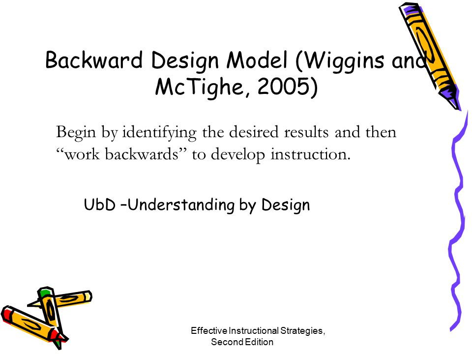 Backward Design Model (Wiggins and McTighe, 2005) Effective Instructional Strategies, Second Edition Chapter 2 - Planning and Organizing for Teaching Begin by identifying the desired results and then work backwards to develop instruction.
