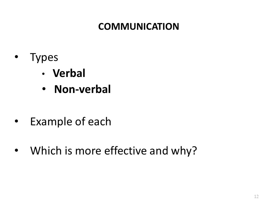 COMMUNICATION Types Verbal Non-verbal Example of each Which is more effective and why? 12