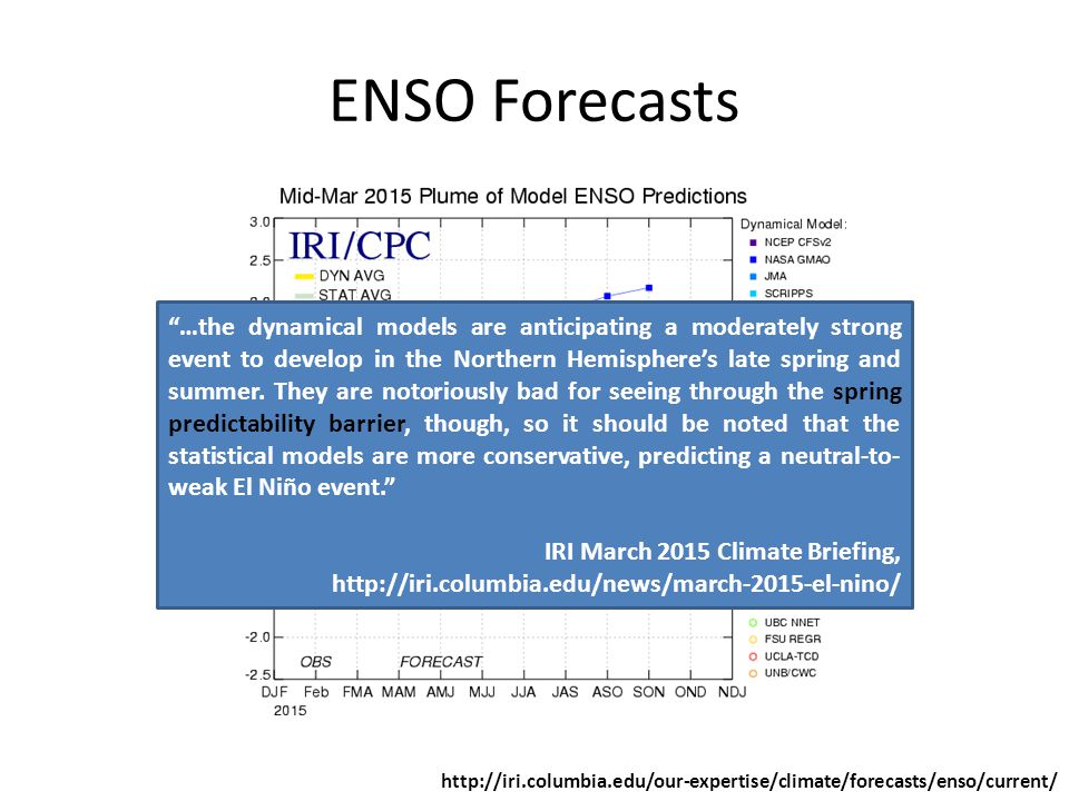 ENSO Forecasts   …the dynamical models are anticipating a moderately strong event to develop in the Northern Hemisphere's late spring and summer.