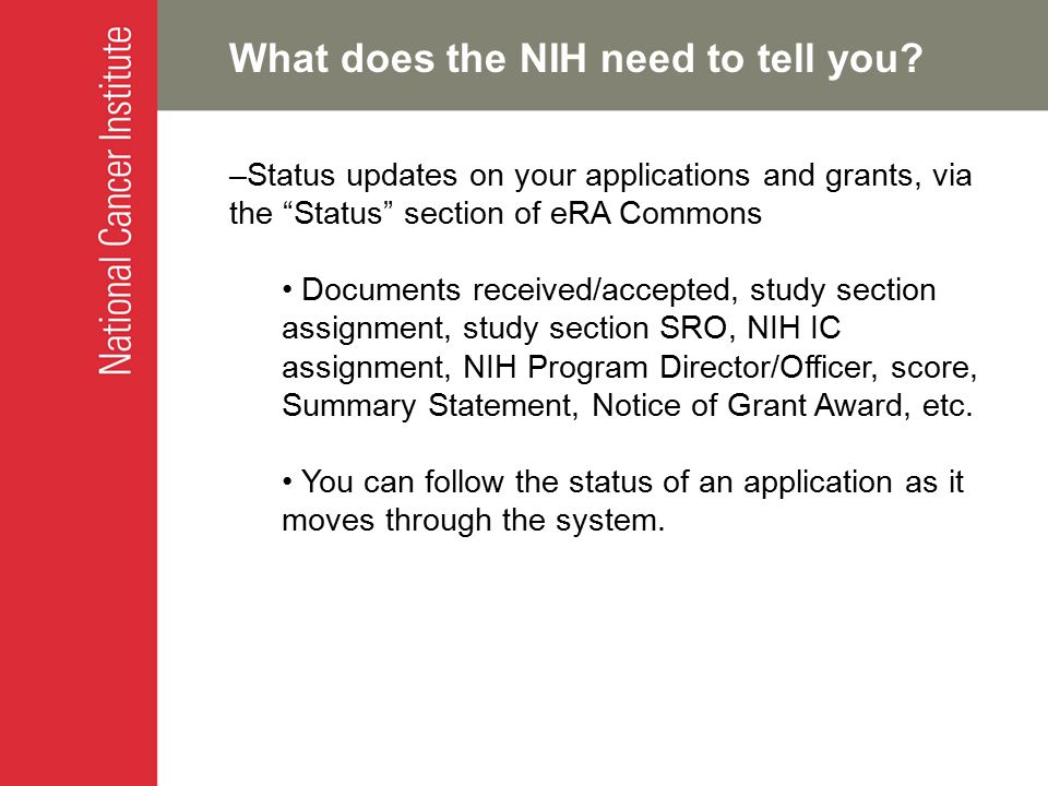 What does the NIH need to tell you.
