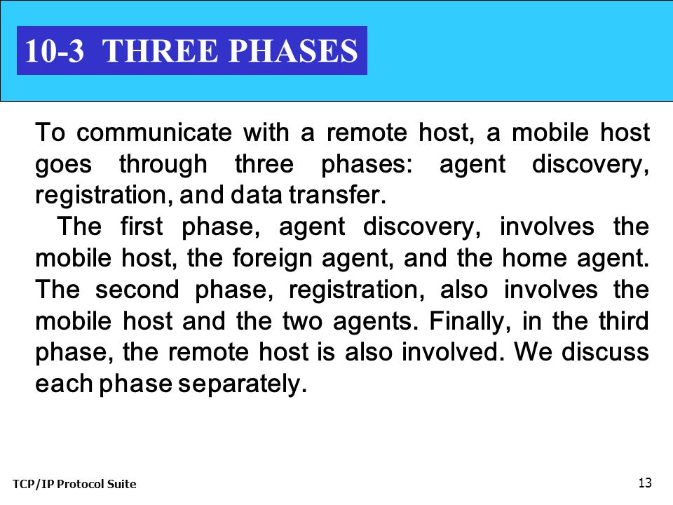TCP/IP Protocol Suite THREE PHASES To communicate with a remote host, a mobile host goes through three phases: agent discovery, registration, and data transfer.