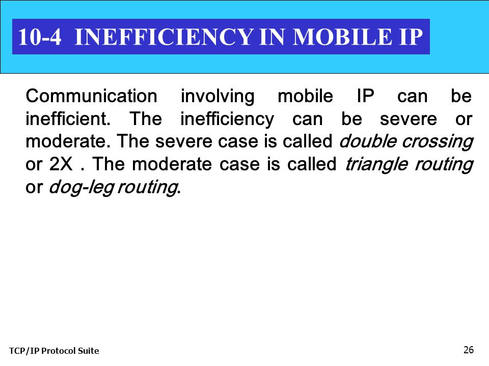 TCP/IP Protocol Suite 26 10-4 INEFFICIENCY IN MOBILE IP Communication involving mobile IP can be inefficient.