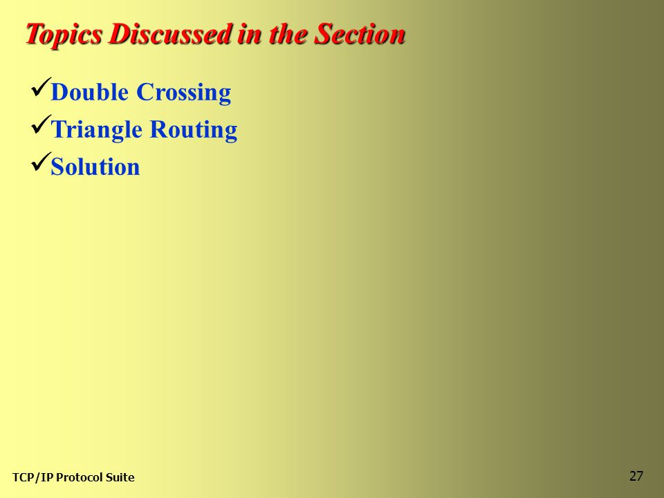 TCP/IP Protocol Suite 27 Topics Discussed in the Section Double Crossing Triangle Routing Solution