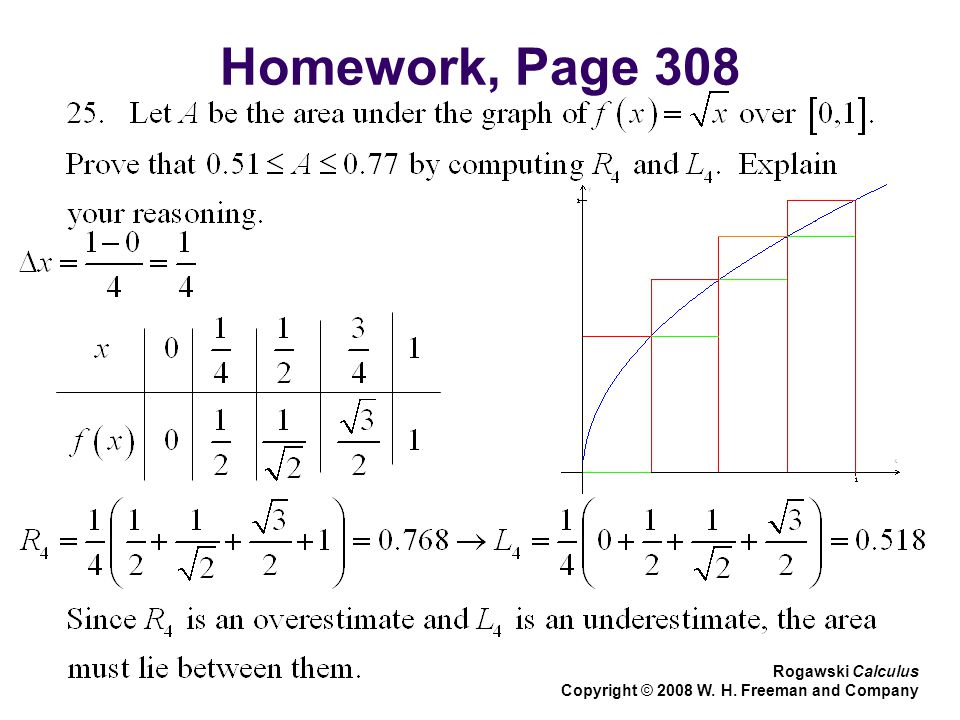 Homework, Page 308 Rogawski Calculus Copyright © 2008 W. H. Freeman and Company