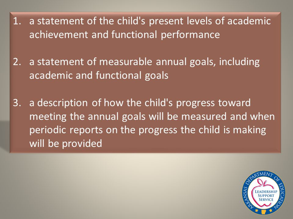 1.a statement of the child s present levels of academic achievement and functional performance 2.a statement of measurable annual goals, including academic and functional goals 3.a description of how the child s progress toward meeting the annual goals will be measured and when periodic reports on the progress the child is making will be provided