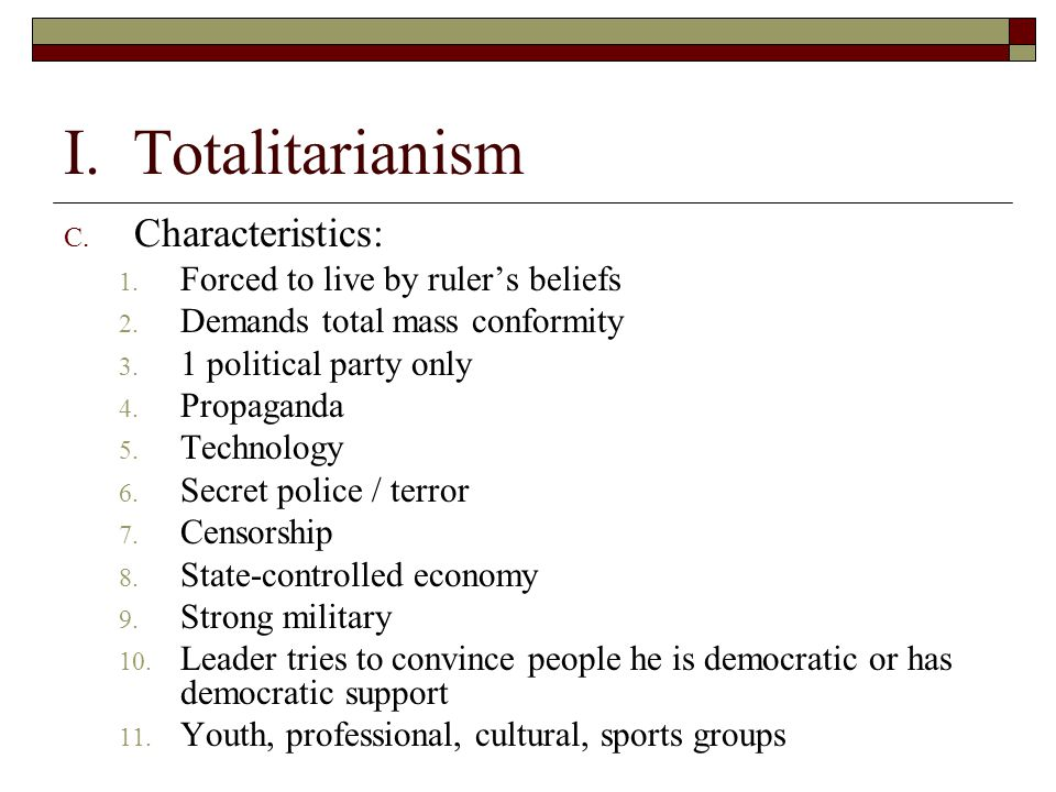 totalitarianism in italy essay example The seven features of totalitarian state are as follows: 1 as against liberal-democratic faith in reason, totalitarianism glorifies instincts and emotions it is anti-intellectual and appeals to instinct and will which, according to it are the motive force of human actions 2 totalitarianism is a.