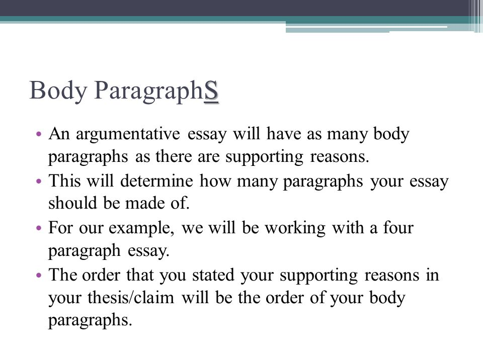 paragraph argumentative essay Like all essays, the argumentative essay has three important parts – the introduction, the body, and the conclusion each area is described in further detail below keep in mind that the length of your essay depends on the assignment given to you write better essays with an online class.