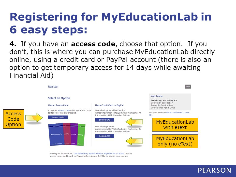 Registering for MyEducationLab in 6 easy steps: 4.