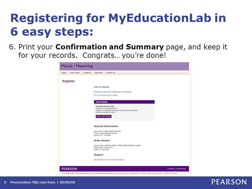 Registering for MyEducationLab in 6 easy steps: 6.